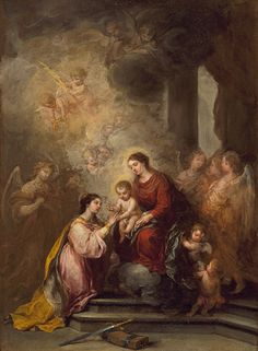 The Mystic Marriage of Saint Catherine - Bartolome Esteban Murillo. Oil on canvas. 71 x 52 cm. Los Angeles County Museum of Art, Los Angeles CA, USA. Famous Artists, Great Artists, Saint Catherine Of Alexandria, Esteban Murillo, Spanish Painters, Spanish Artists, European Paintings, Caravaggio, Religious Art