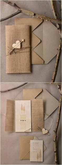 Rustic country burlap wedding invitations @4LOVEPolkaDots by leonor