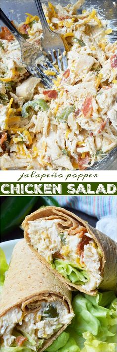 This Jalapeño Popper Chicken Salad is the ultimate! Creamy chicken salad with roasted jalapeños, bacon and cheddar cheese. Say goodbye to boring ol' chicken sandwiches and have Jalapeño Popper Chicken Wraps instead. ad #FlatoutLove #WW #WeightWatchers @flatoutbread