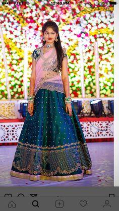 Shopzters is a South Indian wedding site Half Saree Lehenga, Lehnga Dress, Lehenga Style, Lehenga Blouse, Half Saree Designs, Lehenga Designs, Saree Blouse Designs, Half Saree Function, Indian Bridal Lehenga