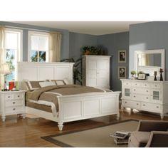 Summer Breeze Queen White Panel Bed   HOM Furniture