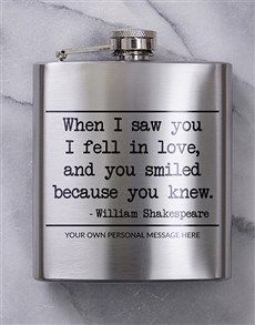 gifts: Personalised You Knew Hip Flask! Valentines Day For Him, Valentine Day Gifts, I Fall In Love, Falling In Love, Flower Delivery Service, Smile Because, Flask, Personalized Gifts, Messages