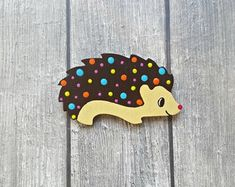 Hand-crafted jewelry made of wood, paper and resin by ColoreriaStudio Unique Gifts For Her, Wooden Earrings, Polymer Clay Earrings, Happy Shopping, Brooch Pin, Brooches, Hedgehog, Etsy Seller, Dots