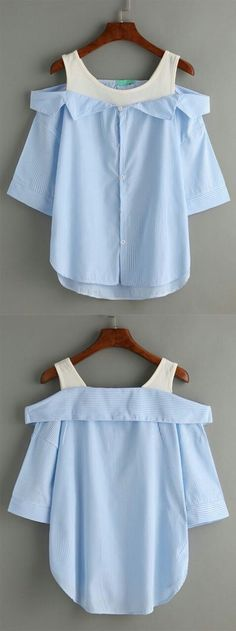 Sewing Blouse I need this with my denim skirt, lovely! Grey Striped Fold Over Cold Shoulder Blouse. Diy Fashion, Korean Fashion, Fashion Dresses, Womens Fashion, Fashion Design, Fashion Trends, Latest Fashion, Diy Clothing, Sewing Clothes