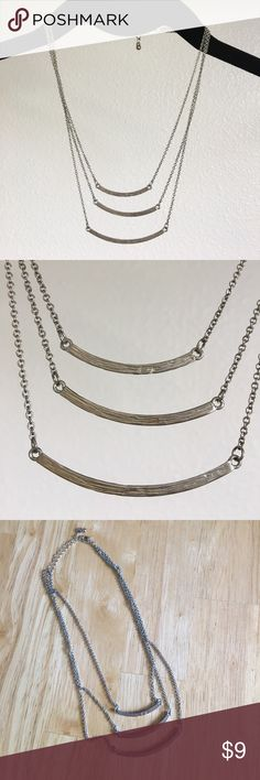 Silver-triple bar necklace Silver triple horizontal bar necklace w/clasp. Jewelry Necklaces
