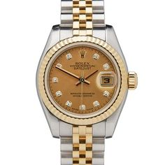 Vintage Rolex Datejust 18K Yellow Gold Diamond Dial Watch