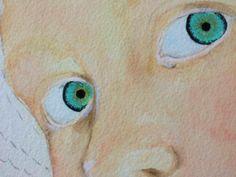 8) Contornate le iridi con il lamp ebony black (nella parte interna in modo irregolare). Con il liner dipingete delle piccole lineette delicate con il true ochre dalla pupilla verso l'esterno