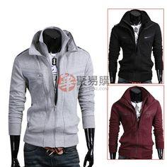 韩版男装休闲双拉链收襟卫衣EZ976--红色XL码  USD $7.99
