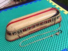 VINTAGE 30's WOLVERINE METAL TIN LITHO STREAMLINE RAILWAY No 129 TRAIN PULL TOY #WolverineSupplyMFGCoPittsburgh