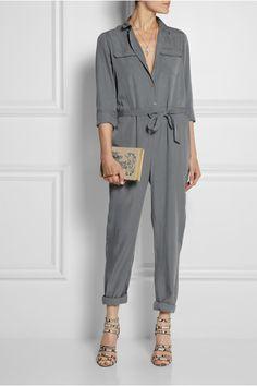 Burberry Brit Belted washed-poplin jumpsuit NET-A-PORTER.COM