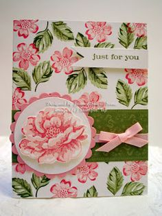 Sleepy in Seattle: Stippled Blossoms.  This card is made on a whisper white cardstock back ground and stamped with Pretty In Pink, Celery, Old Olive and Regal Rose inks from Stampin' Up.