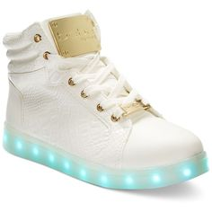 bebe Sport Keene Light-Up High-Top Sneakers ($89) ❤ liked on Polyvore featuring shoes, sneakers, white croc, hi-tops, white high tops, white trainers, high top trainers and high top shoes