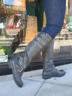 Decorative side buckles make this classic riding boot a stand-out. By Madden Girl $79. Also in brown.