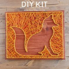 Craft Kits, Diy Craft Projects, Diy Kits, Diy Crafts, Upcycling Projects, Craft Ideas, Fox Silhouette, Silhouette Design, String Art Letters