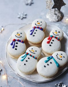 This Macaron Recipe Snowman Macarons with Eggnog Buttercream Filling Color Splash, Whipped Butter, Buttercream Filling, Cinnamon Powder, Thing 1, Confectioners Sugar, Food 52, Christmas Cookies, Christmas Baking