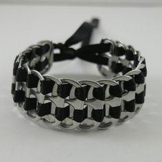pop tab bracelet  black stacked weave