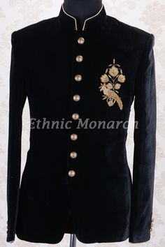 Jodhpuri Suits-Black-Zari Black prince's coat Wedding Dresses Men Indian, Wedding Dress Men, Wedding Suits, Sherwani Groom, Mens Sherwani, Indian Men Fashion, Mens Fashion Suits, Mens Suits, Fashion Pants