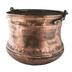 "Riveted Antique Copper Bucket Large II - Solid copper. 11.5""h x 14""dia"