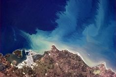 The surging flow of the ocean, very visible along the north coast of South America.