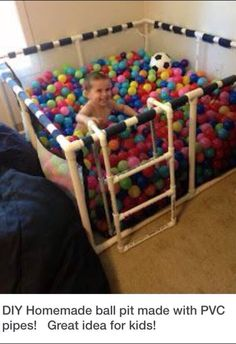 Homemade ball pit made with PVC pipes