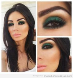 Maquillaje de ojos sombra verde oscuro para morenas de piel oscura