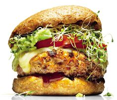 Lightened-Up Delivery Favorites: Avocado-Alfalfa Turkey Burger    The Skinny: 479 calories per burger, 17 g fat (5 g saturated), 43 g carbs, 9 g fiber, 46 g protein