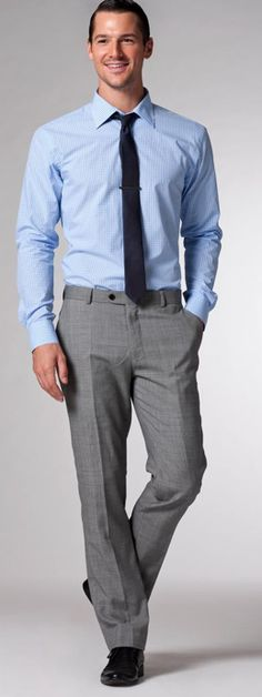 For the groomsmen: Light Blue Gingham Shirt, pictured with gray pants, dark blue tie and black shoes.    Found here: http://www.indochino.com/product/The-Tactician-Light-Blue-Gingham