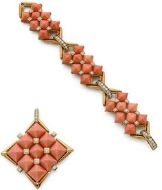 A coral, diamond and 18k yellow gold bangle and pendant clip by Van Cleef & Arpels, circa 1970