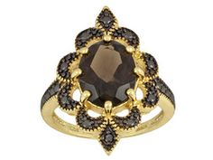 Stratify (Tm)Smoky Quartz 2.25ct With .01ct Black Diamond 18k Yellow Gold Over Sterling Silver Ring