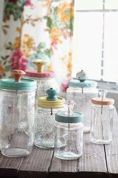 Recycle glass jars - love the knobs on the lids