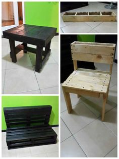 I made these items (chair, bench, table) using second hand wooden pallets. I also make a variety of different products by simply upcycling and recycling pallets into smart eco friendly furniture. I just love pallets and what you can do…