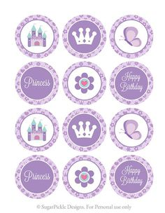 Items similar to Princess Cupcake Toppers, Princess Birthday Toppers, Princess Toppers, Purple Princess Birthday Party Decorations, PRINTABLE - inch on Etsy Princess Cupcake Toppers, Princess Cupcakes, Princess Birthday Party Decorations, Birthday Favors, Princess Sofia Party, Princesa Sophia, Sofia The First Birthday Party, Bottle Cap Images, Baby Scrapbook