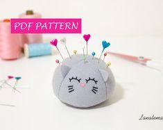 View Felt PDF patterns by Lanatema on Etsy Felt Patterns, Pdf Sewing Patterns, Felt Pincushions, Felt Bookmark, Hand Embroidery Tutorial, Cat Pin, Felt Diy, Sewing Basics, Pin Cushions