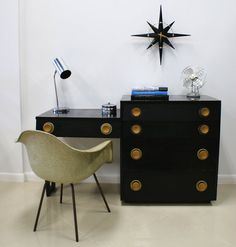 1940s-50s Mid Century Black Desk Vanity and Dresser