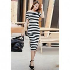 Slim Fit Bateau Neck Short Sleeve Stripes Women's Dress, BLACK, ONE SIZE in Dresses 2013 | DressLily.com