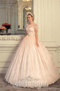 Custom Made Plus Size Wedding Dresses Round Neck Short Sleeve Sash Ball Gown Pink Appliques Lace 2015 Wedding Dresses Online with $344.51/Piece on Queenbridal's Store   DHgate.com