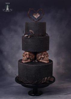 black and white wedding cakes modern black cake twistercakeart cake decorating recipes kuchen kindergeburtstag cakes ideas Skull Wedding Cakes, Gothic Wedding Cake, Gothic Cake, Halloween Wedding Cakes, Vampire Wedding, Gothic Wedding Decorations, Black And White Wedding Cake, Black Wedding Cakes, Black And Gold Cake