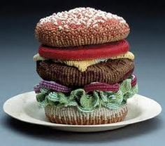 crochet burger...would be a cool purse.