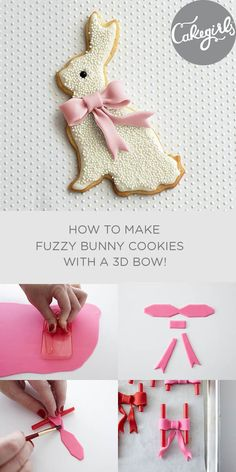 Create a show stopping Easter Bunny cookie with our step x step tutorial. Fuzzy sprinkle covered bunny with a fondant 3D bow.   Cakegirls Tutorials