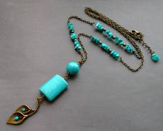 Long necklace Antique Brass chain with turquoise. necklace