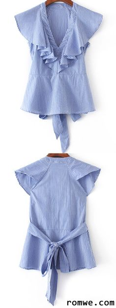 Shop Blue Striped Ruffle Trim Blouse With Self Tie at ROMWE, discover more fashion styles online. Kids Outfits, Casual Outfits, Fashion Outfits, Trendy Fashion, Kids Fashion, Fashion Design, Women's Fashion, Mode Wax, Sewing Clothes Women