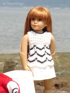 """Hand-knitted tunic designed to fit 18"""" Kidz N' Cats dolls by Debonair Designs"""
