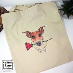 Jack Russell Terrier, Jack Russell, Jack Russell Gifts, Bully, New Home, Birthday, Wedding, Anniversary, Reusable Bag, Tote Bag, Terrier Watercolour Drawings, Pen And Watercolor, White Terrier, Terrier Mix, Terriers, Chihuahua Art, Shelter Dogs, Animal Shelter, Animal Rescue