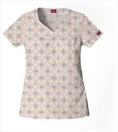 """Dickies Shaped V-neck Scrub Top in """"Geo Baroque"""" 82762-GBRQ A Junior fit top features a shaped V-neck, shirring at the center front, angled pockets, front yoke, side vents and back darts for shaping. Center back length: 26"""". $20.25 #scrubs #scrubcouture #nurses"""