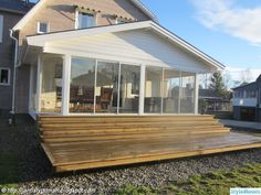 Flat Ideas, Swedish House, Deck, House Extensions, Roof Design, Garage, Conservatory, Sunroom, Outdoor Gardens