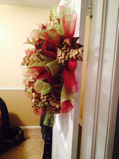 Side View of large deco mesh wreath