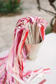 Coordinated by Bird Dog Wedding, this whimsical Austin wedding at Lady Bird Johnson Wildflower Center is bursting with shades of coral, pink and gold. Dog Wedding, On Your Wedding Day, Ribbon Wands, Diy Ribbon, Ribbon Sticks, Mauve Wedding, Perfect Day, Whimsical Wedding, Wedding Inspiration