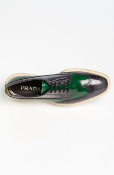 Prada Double Sole Wing Tip Oxford.