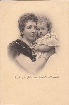 Princess Henriette of Belgium, Duchess of Vendome with one of her children.  Henriette was a child of Prince Philippe, the Count of Flanders and his wife Princess Marie of Hohenzollern-Sigmaringen.  Henriette married Prince Emmanuel the Duke of Vendome.  They had four children and a happy marriage.