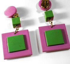 Vintage Purple/Green Plastic Dangly Clip by CrowsNestJewels